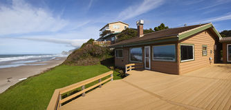 Beach houses panorama Lincoln City. Royalty Free Stock Photography