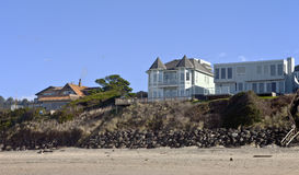 Beach houses panorama Lincoln City. Stock Photos