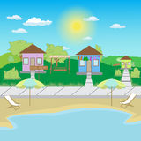 Beach houses for rent vector illustration