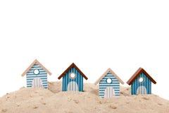 Beach houses. Row blue beach houses isolated over white background stock photo