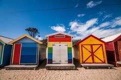 Beach houses. A shot of colorful beach houses taken at Brighton's beach, Melbourne Australia Stock Photography