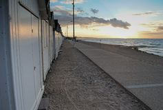 Beach houses during sunset. French / Normandy beach houses during sunset stock photo