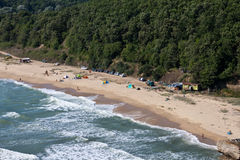 Beach and human intervention. Kara Dere shot from the high last week Royalty Free Stock Photo