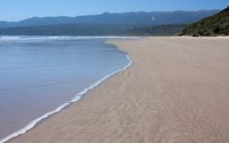 A beach on the Humpridge Track in the Southland in the South Island in New Zealand stock photo