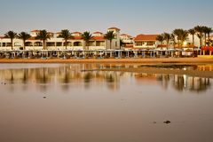 Beach in Hurghada, Egypt. Beach in sunset light in Hurghada, Egypt Royalty Free Stock Image