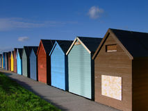Beach hut 03. Beach huts by the sea in the UK Royalty Free Stock Image