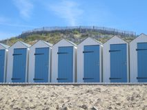 Beach hut. Blue beach hut in a France royalty free stock photos
