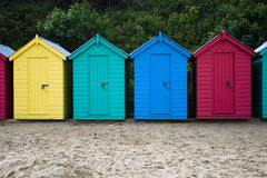 Beach Hut. Colourful wooden british beach huts Royalty Free Stock Images