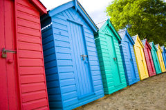 Beach Hut. Colourful wooden british beach huts Royalty Free Stock Photo
