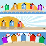 Beach hut banners Stock Photos