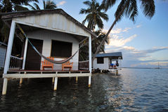 Beach Hut in Belize. A cozy beach hut, on Tobacco Caye, Belize - the ideal vacation spot in the Caribbean stock photo