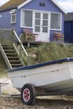 Beach Hut and Boat Stock Images