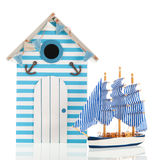 Beach hut and boat Royalty Free Stock Photo