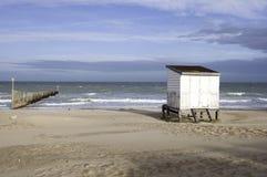 Beach hut in Calais-France. A single beach hut on the shore in Calais, France Royalty Free Stock Photography