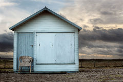 Beach hut on cloudy day Stock Photos