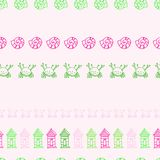 Beach hut, crab and shell seamless pattern vector illustration