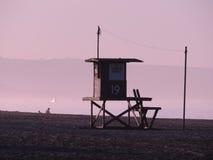 Beach hut at dawn Stock Photo
