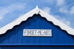 Beach Hut Detail. (Forget Me Not) at Old Felixstowe, Essex, UK Royalty Free Stock Photo