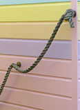 Beach hut detail, Whitstable. The pastel colours and rope detailing on a traditional seaside beach hut Royalty Free Stock Photo