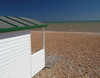 Beach hut - English Beach in East Sussex stock image