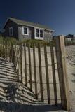 Beach Hut West Dennis Cape Cod. A beach hut/house and fencing @ West Dennis beach Cape Cod Massachusetts Stock Images