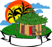 Beach hut label Royalty Free Stock Photos