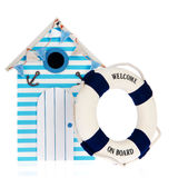 Beach hut with live buoy. Summer beach hut with live bouy with welcome on board Stock Image