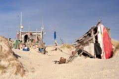 Beach Hut made of Flotsam Stock Photos