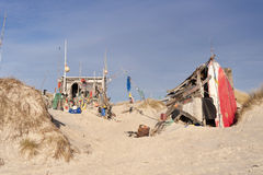 Beach Hut made of Flotsam Stock Photo