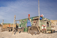Beach Hut made of Flotsam Royalty Free Stock Photo