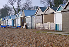 Beach Hut Maintenance. Beach huts for Maintanance during winter months at Calshot, Hampshire UK Royalty Free Stock Photos