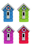Beach hut medley background. Photo of four brightly coloured beach huts each sporting their own stripy life ring Royalty Free Stock Images