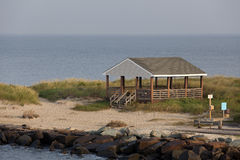 Beach hut overlooking the Delaware Bay Royalty Free Stock Images
