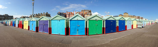 Beach hut panorama Stock Images