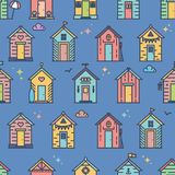 Beach hut pattern. Flat line style, colored. Variety of designs with different decoration, bunting, surf board, fish, flower pots, life buoy, paddles, flags stock illustration