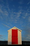 Beach hut with red door Royalty Free Stock Image