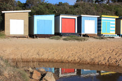 Beach Hut reflections Royalty Free Stock Images
