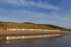 Beach Hut Reflections Stock Image