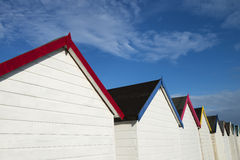 Beach Hut Roof Line. Beach Huts at Broadsands, near Paignton, Devon, UK Stock Images