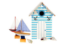 Beach hut with sailing boats. Summer beach hut withsailing boats and shells Stock Photos