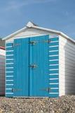 Beach Hut at Seaton, Devon, UK. A blue and white painted beach hut at Seaton, Devon, UK Stock Photos