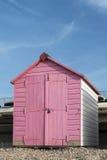 Beach Hut at Seaton, Devon, UK. A pink and white painted beach hut at Seaton, Devon, UK Stock Photography