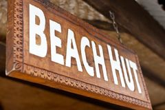 Beach hut sign. Close-up view of beach hut sign Royalty Free Stock Images