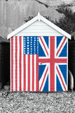 Beach Hut with stars and stripes and Union Jack pa Royalty Free Stock Image