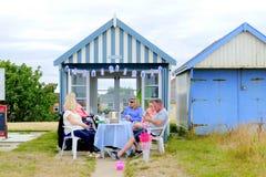 Beach hut tea party. Stock Photos