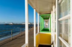 Beach Hut veranda and sothwold pier Royalty Free Stock Photography