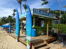 The Beach Hut where you can buy beer and cocktails  and rent beach toys. St. Thomas, US Virgin Islands - 11/04/16: The Beach Hut where you can buy beer and royalty free stock photos