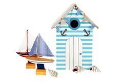 Beach Hut With Sailing Boats Stock Photos