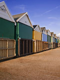 Beach Huts. A row of beach huts at Suothbourne Beach in Dorset stock image