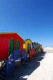 Beach Huts. Bright painted beach huts along Cape Town beachfront at muizenberg Royalty Free Stock Photo